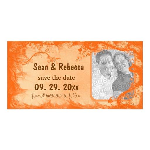 Economias florais alaranjadas da foto o anúncio da cartão com foto personalizado