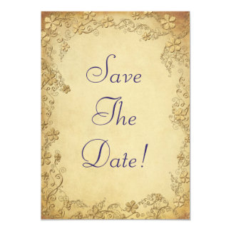 Economias florais antigas do casamento do vintage convite 12.7 x 17.78cm