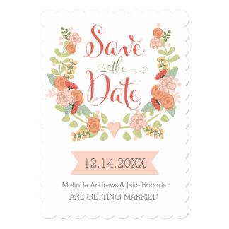 Economias florais da borda do Scallop a data Convite 12.7 X 17.78cm
