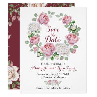 Economias florais do casamento do rosa do rosa de convite 10.79 x 13.97cm