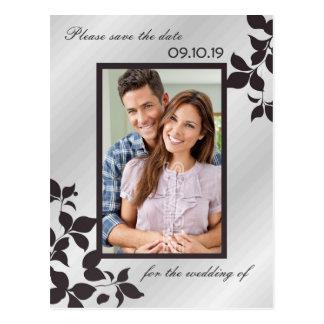 Economias florais pretas de prata elegantes da fot cartões postais