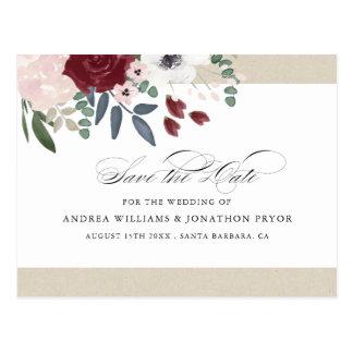 Economias florais românticas o cartão da data