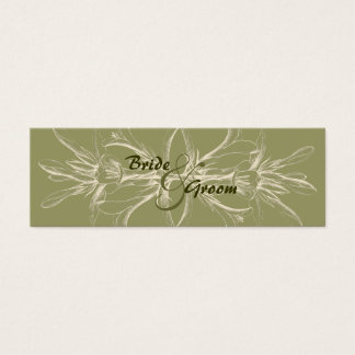 Economias florais verde-oliva antigas a data cartão de visitas mini