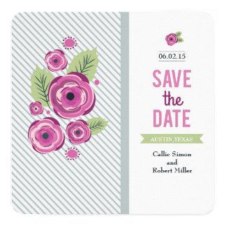 Economias florais violetas a data convite quadrado 13.35 x 13.35cm