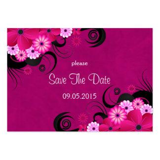 Economias fúcsia florais do casamento do hibiscus cartão de visita grande
