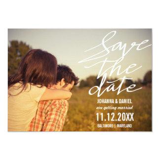 Economias modernas a foto do casal da tipografia convite 12.7 x 17.78cm