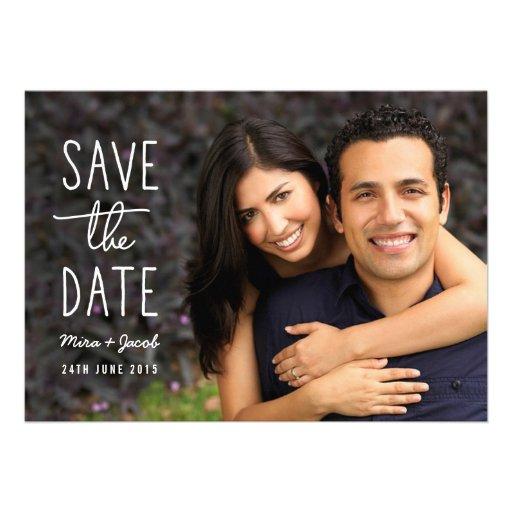 Economias modernas da foto do casal o cartão de da convite personalizados