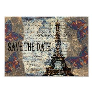Economias parisienses do vintage a data convite 12.7 x 17.78cm