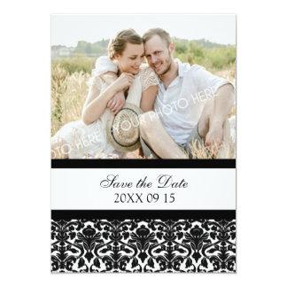 Economias pretas do casamento da foto do damasco o convite 12.7 x 17.78cm