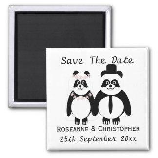 Economias preto e branco da panda o casamento da ímã quadrado