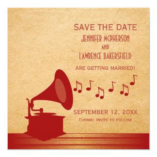 Economias que vermelhas do gramofone do vintage a convite quadrado 13.35 x 13.35cm