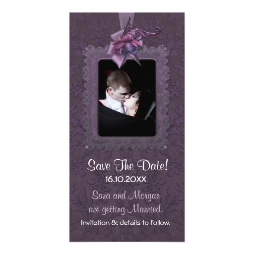 Economias romances escuras do casamento a data cartoes com fotos personalizados