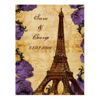 economias roxas de Paris da torre Eiffel do Cartão Postal