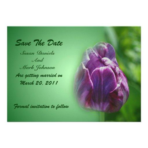 Economias roxas do casamento da flor da tulipa a d convite personalizado