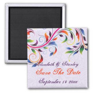 Economias roxas do casamento da folha colorida do ímã quadrado