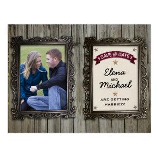 Economias rústicas do casamento da foto das moldur cartão postal