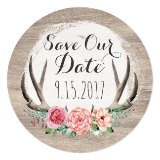 Economias rústicas do casamento | dos Antlers Convite Quadrado 13.35 X 13.35cm