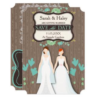 Economias rústicas o cartão de data, duas noivas