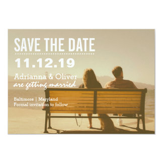 Economias simples chiques a foto do casal da data convite 12.7 x 17.78cm