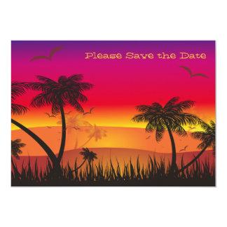 Economias tropicais da vista o anúncio da data convite 12.7 x 17.78cm