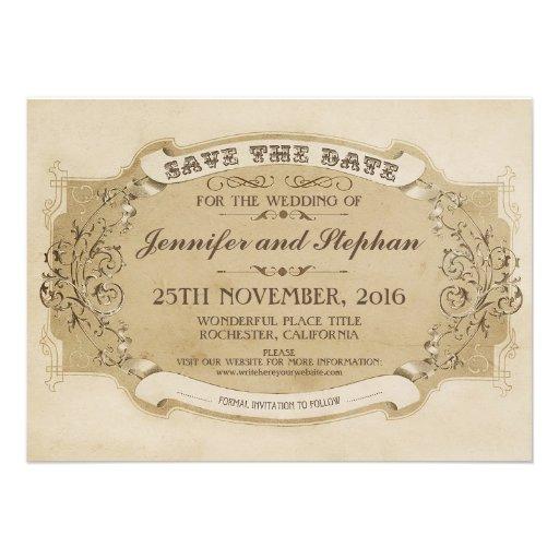 economias velhas antigas do vintage o cartão de da convite personalizados