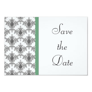 Economias verdes brancas pretas do casamento tema convite 8.89 x 12.7cm