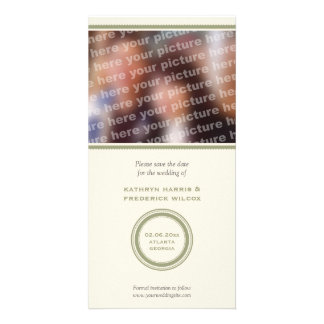 Economias verdes do casamento do círculo o anúncio cartão com foto