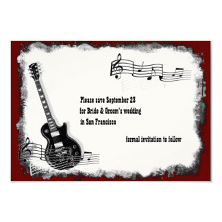 Economias vermelhas da música do preto da guitarra convite 8.89 x 12.7cm