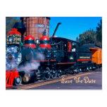 Economias vermelhas do trem o cartão da data cartao postal