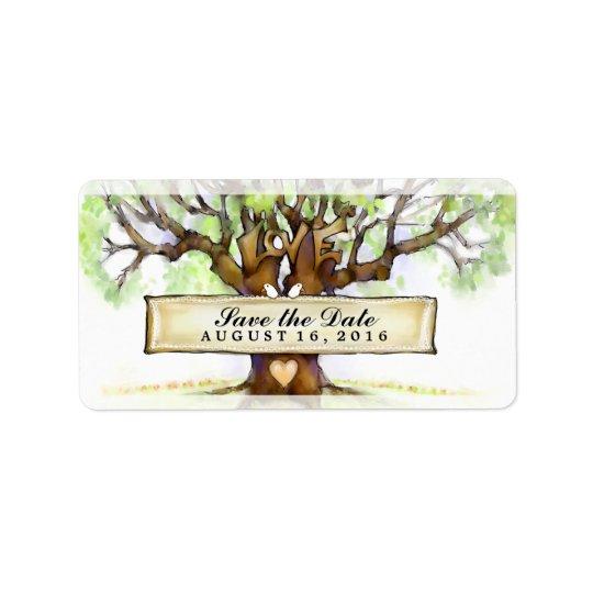 Economias Wedding as etiquetas de data - a árvore