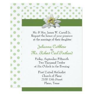 Edelweiss e convite verde do casamento das