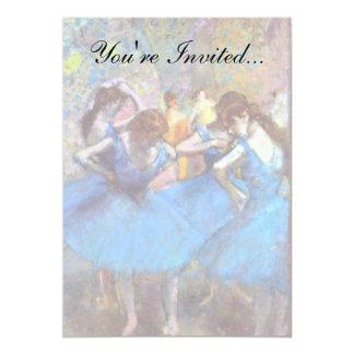 Edgar Degas - dançarinos no azul - amante da dança Convite 12.7 X 17.78cm