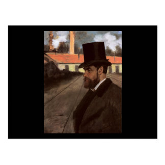 Edgar Degas Henri Rouart na frente de sua fábrica Cartao Postal