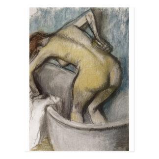 Edgar Degas - mulher do banho que apoia para trás  Cartoes Postais