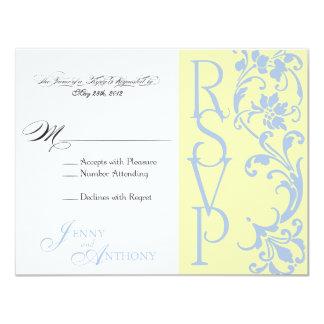 eDIY RSVP simples elegante Buttercream e azul-céu Convite Personalizados