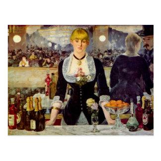 Edouard Manet - um bar no cartão de Folies-Bergere