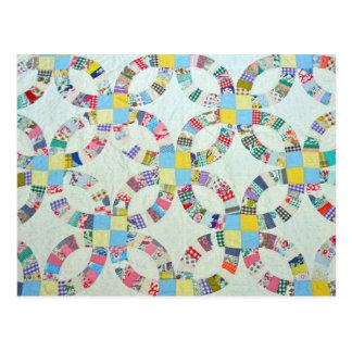 Edredão de retalhos colorida cartão postal