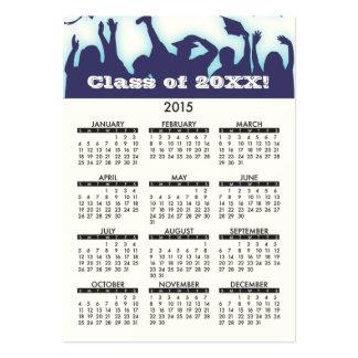 Educação 2015 em linha do calendário do cartão de cartão de visita grande