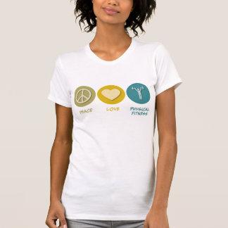 Educação da malhação física do amor da paz t-shirt