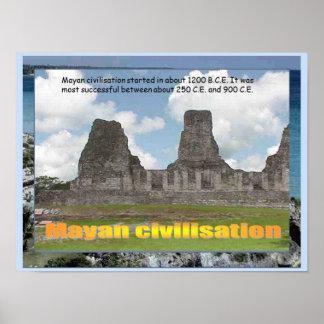 Educação, história, América, civilização maia Poster
