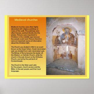 Educação, história, igrejas medievais posters