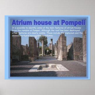 Educação, história, romanos, casa do vestíbulo, pôster