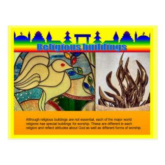 Educação, religião, construções religiosas cartão postal