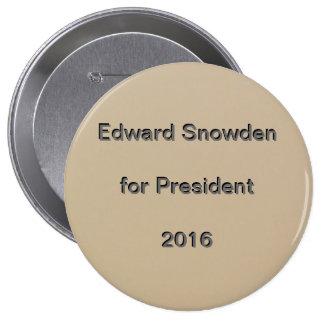 Edward Snowden para o presidente 2016 Bóton Redondo 10.16cm