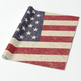 Efeito afligido da bandeira americana do vintage papel de presente