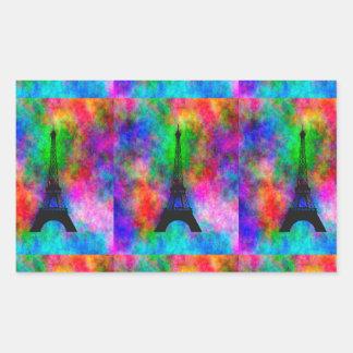 Efeito colorido de pano de Paris da torre Eiffel Adesivo Retangular