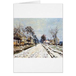 Efeito da neve, a estrada a Louveciennes por Cartão Comemorativo