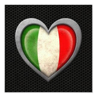 Efeito de aço da malha da bandeira italiana do convite quadrado 13.35 x 13.35cm