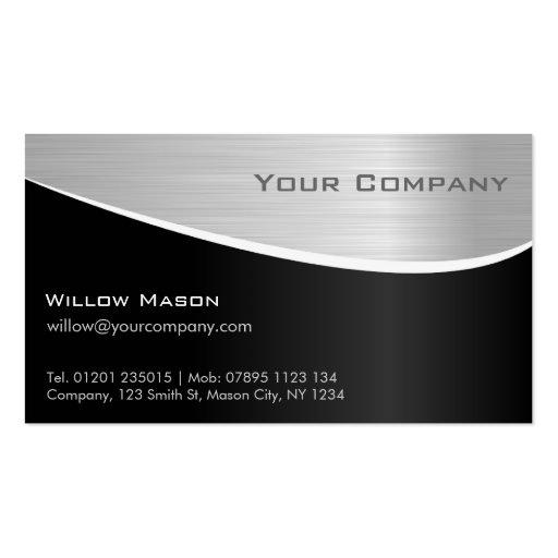 Efeito de aço preto, cartão de visita profissional