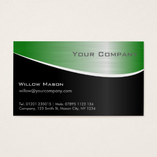 Efeito de aço verde, cartão de visita profissional